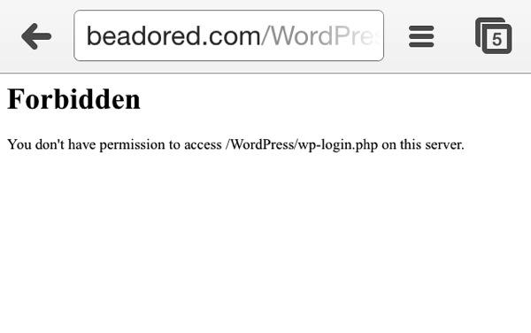 IPhone Chrome WordPress Login