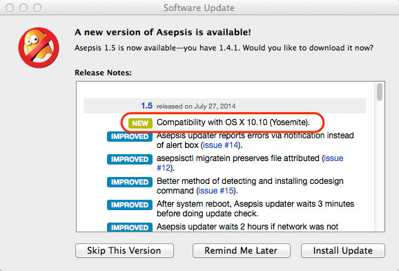Asepsis 1 5 Software Update