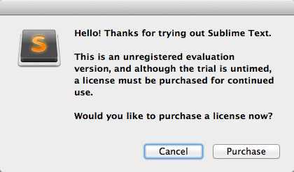 Sublime text message