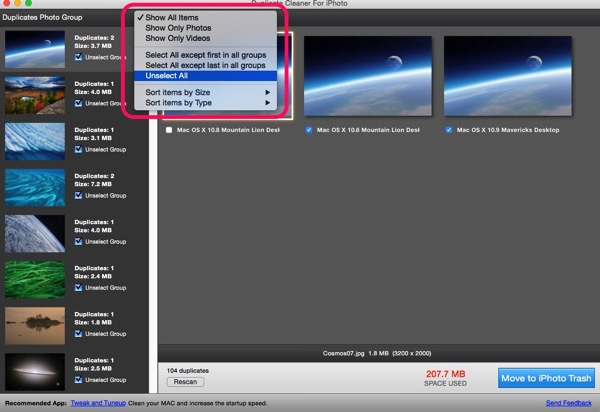 Duplicate cleaner for iphoto 06