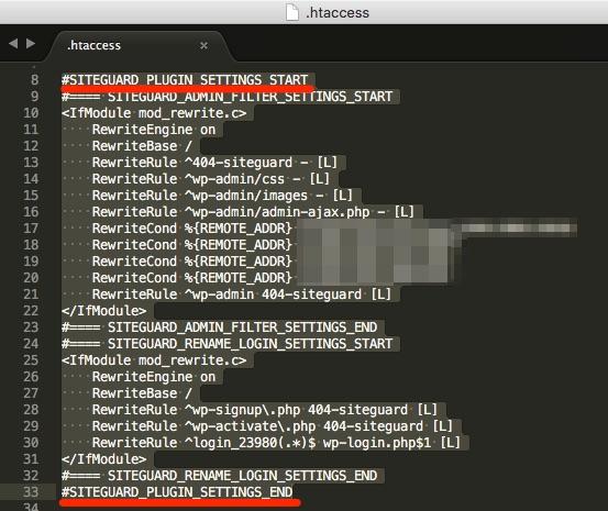 Siteguard wp plugin htaccess