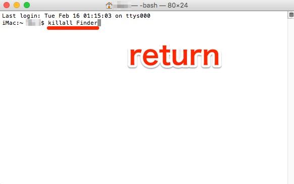 Restart finder Terminal