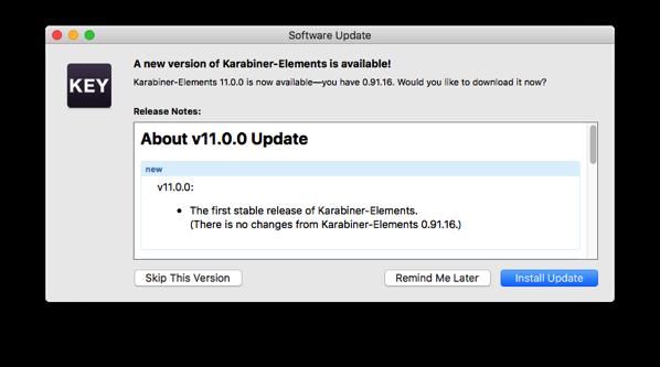 Karabiner Elements 11 0 0 Update