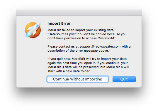 Marsedit4 import error